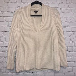 Ann Taylor Cream V Neck Wool Blend Sweater